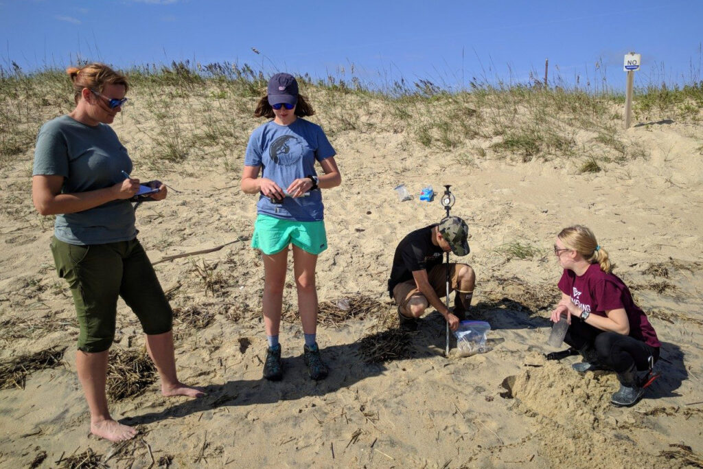 ina Stark, associate professor of civil and environmental engineering and Anthony and Catherine Moraco Fellow in the College of Engineering, and her students, Abby Burke, Casey Peloquin, and Julie Paprocki, conduct field research. Photo courtesy of Nina Stark.